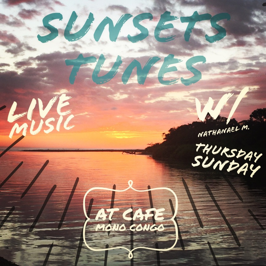 Sunsets tunes at Dominical beach Cafe Mono Congo