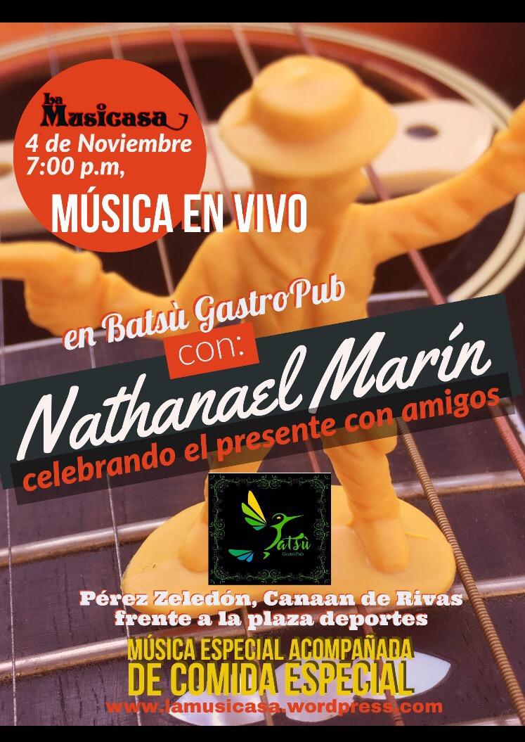 """Nathanael Marín  """"celebrando el presente con amigos"""" en Batsù GastroPub"""