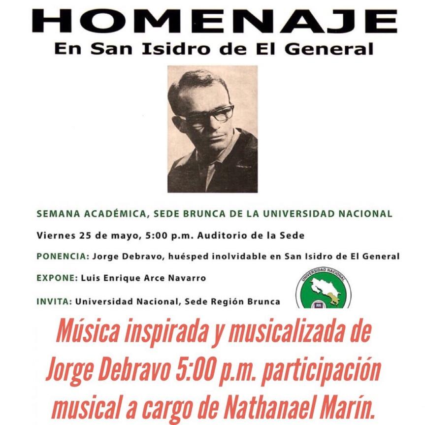 Homenaje a Jorge Debravo 25 de Mayo U.N.A. PérezZeledón