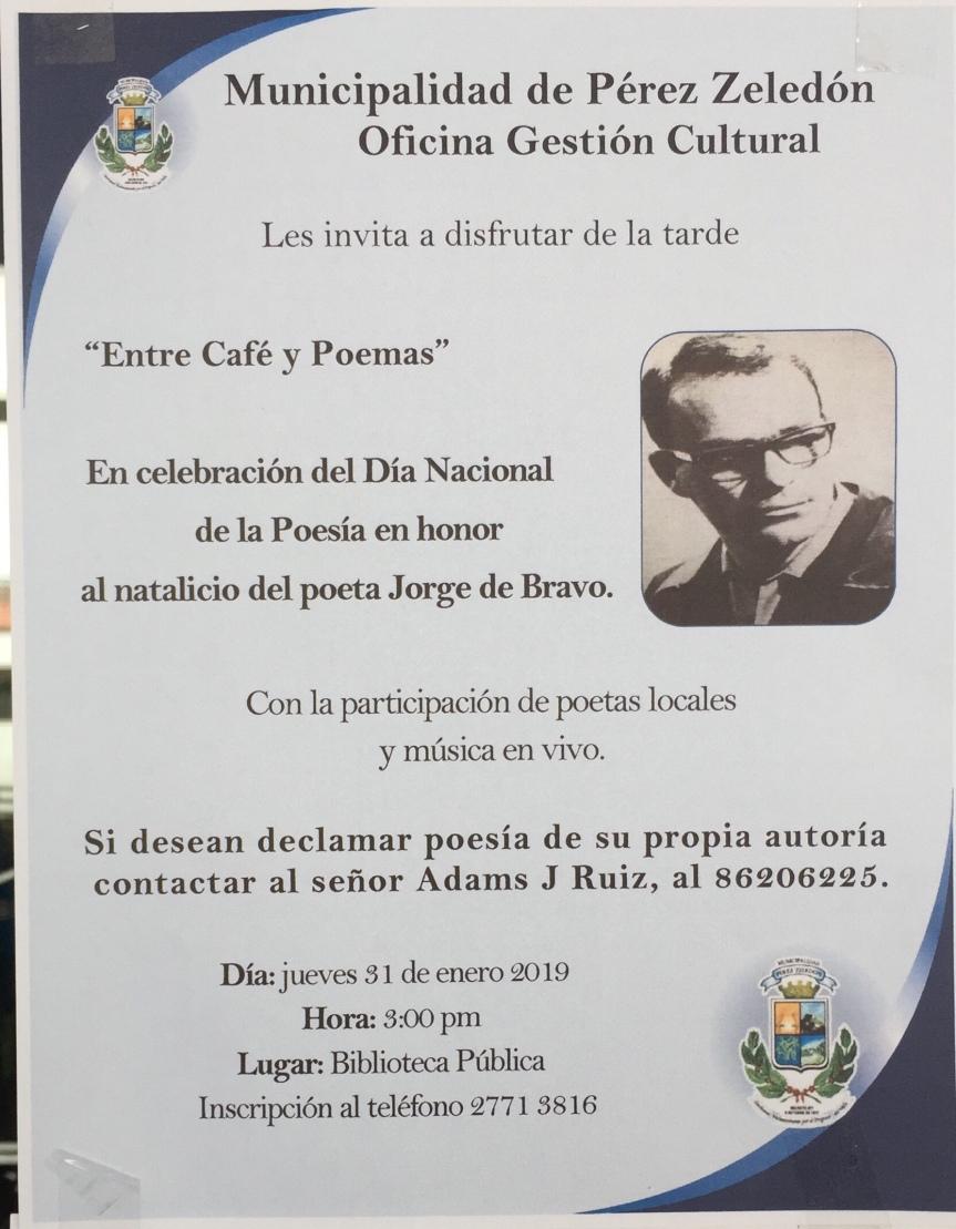 Así celebramos el día nacional de la poesía en San Isidro del General en honor al natalicio de JorgeDebravo